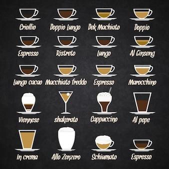 Verschiedene arten von kaffee