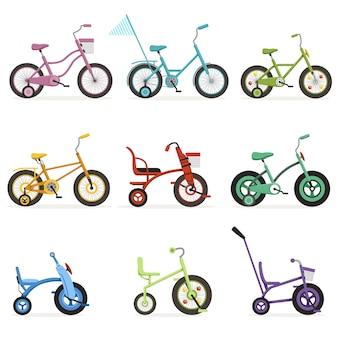 Verschiedene arten von kinderfahrrädern eingestellt, bunte fahrräder mit verschiedenen rahmentypen abbildungen