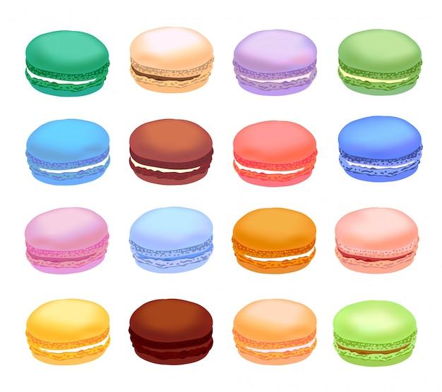 Verschiedene arten von makronen. set macarons mit verschiedenen geschmackskuchen. realistischer stil.