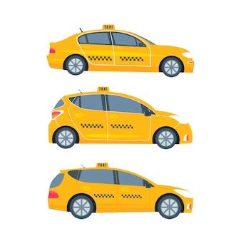 Verschiedene arten von maschinen gelbes fahrerhaus isoliert auf weißem hintergrund. öffentliches taxi-service-konzept. flache vektorillustration.