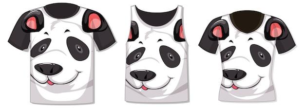 Verschiedene arten von oberteilen mit panda-muster