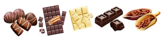 Verschiedene arten von schokolade und kakaobohnen