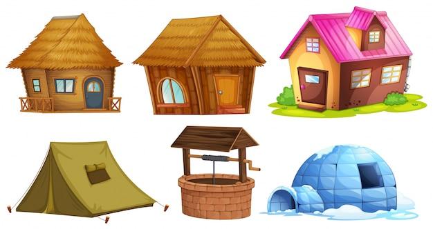 Verschiedene arten von schutzhütten illustration
