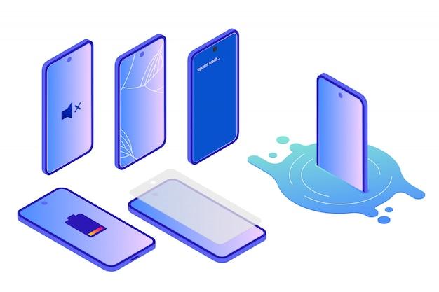 Verschiedene arten von smartphone-schäden, isometrisch