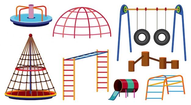 Verschiedene arten von spielstationen für den spielplatz