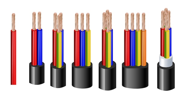 Verschiedene arten von strom- und akustikkabeln mit elektrischen drahtleitern, die zusammengehalten werden, sowie eine realistische abbildung des gesamten mantels. abgeschirmt und mit zusätzlicher isolierung