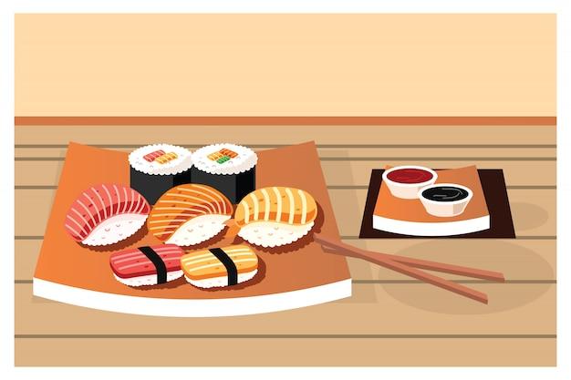 Verschiedene arten von sushi serviert auf teller