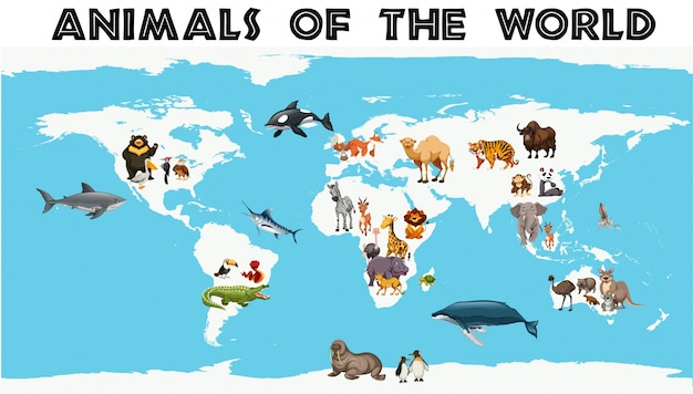 Verschiedene arten von tieren auf der ganzen welt auf der karte