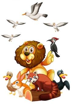 Verschiedene arten von wildtieren auf baumstamm
