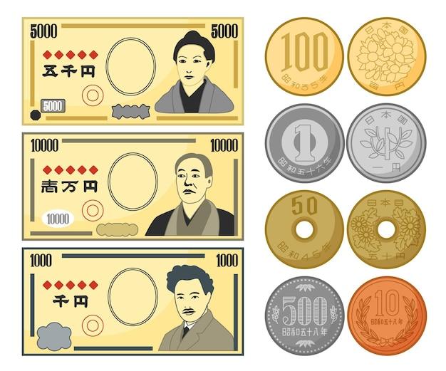 Verschiedene arten von yen-banknoten und -münzen