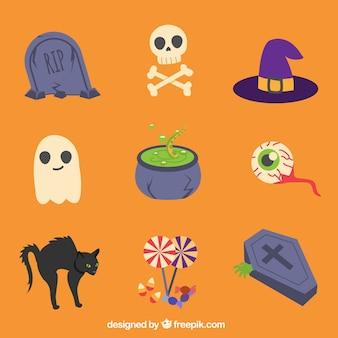 Verschiedene artikel in einem halloween-thema