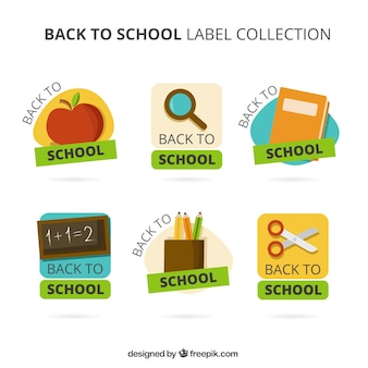 Verschiedene aufkleber für die schule