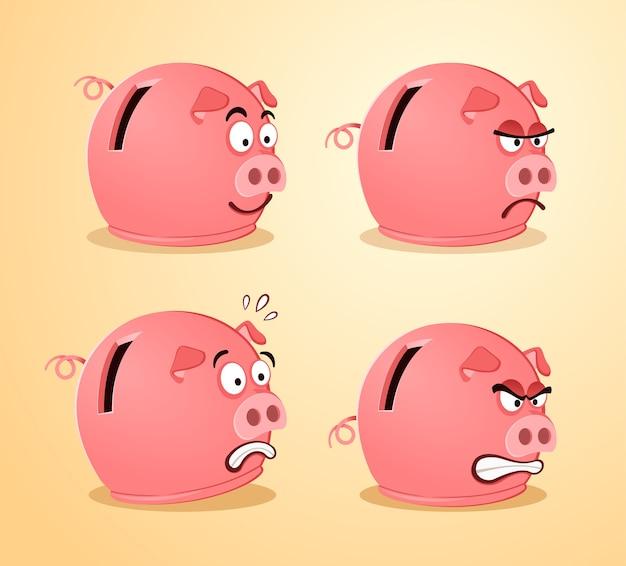 Verschiedene ausdruck von sparschwein