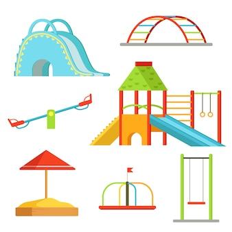 Verschiedene ausrüstung auf spielplatz für kinderspiele. vektor hintergrund