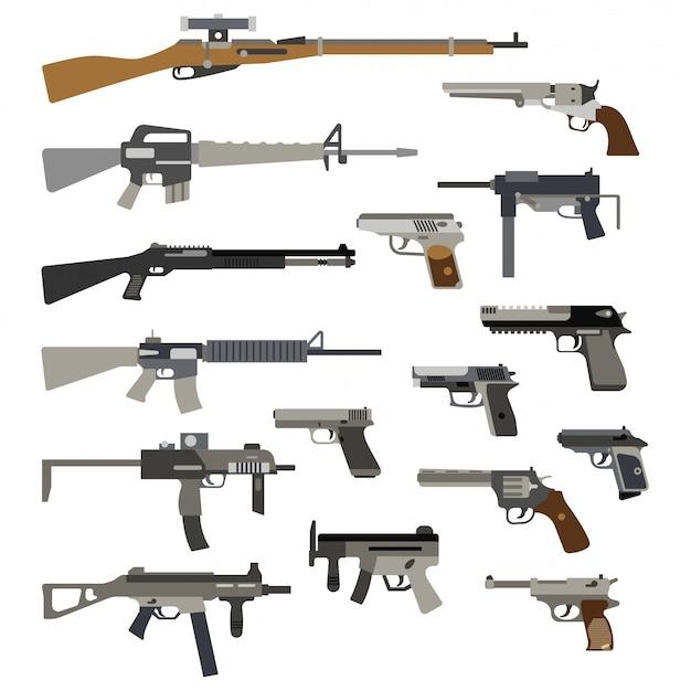 Verschiedene automatische waffen. vektorabbildung der gewehre und der pistolen