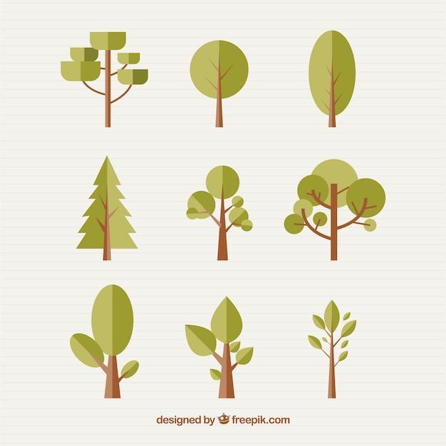 Verschiedene bäume in flache bauform