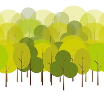 Verschiedene bäume natürliche nahtlose muster hintergrund vektor-illustration