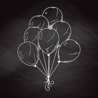 Verschiedene ballons. aufblasbare bälle an einer schnur. vektorillustration im skizzenstil