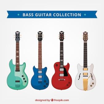 Verschiedene bassgitarren mit verschiedenen farben und designs