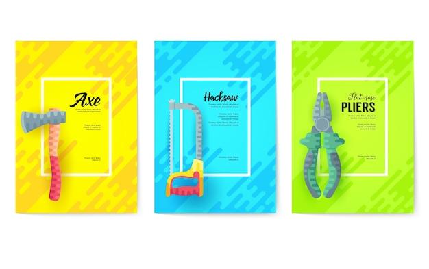 Verschiedene bauunternehmenskarten.arbeitswerkzeugschablone von flyear, plakaten, buchumschlag, fahnen.