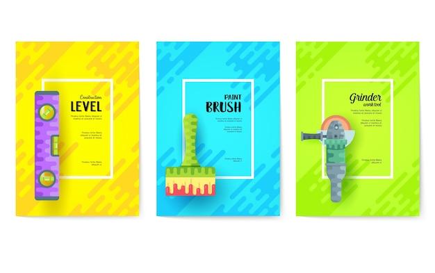 Verschiedene bauunternehmenskarten.arbeitswerkzeugschablone von flyear, plakaten, buchumschlag, fahnen. Premium Vektoren