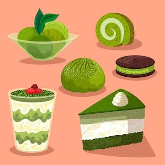 Verschiedene bio-süßigkeiten der matcha-kollektion