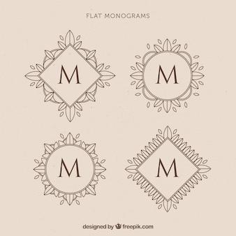 Verschiedene blumen-retro-monogramme