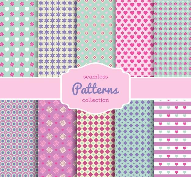 Verschiedene blumenmuster-papiersammlung für scrapbooking in pastelltönen