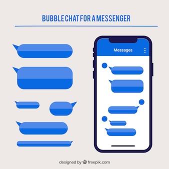Verschiedene bubbles chat für messenger-anwendung