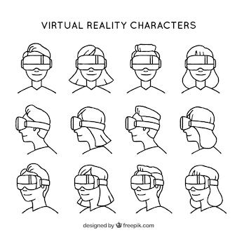 Verschiedene charaktere mit virtual-reality-brille