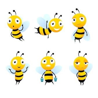 Verschiedene comicfiguren von bienen mit honig