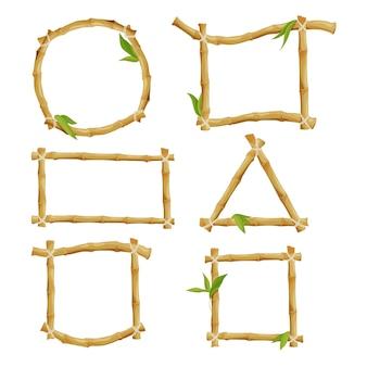 Verschiedene dekorative rahmen aus bambus