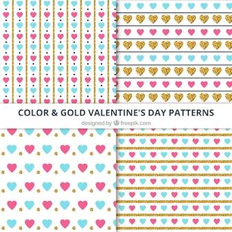 Verschiedene dekorative valentinstag muster