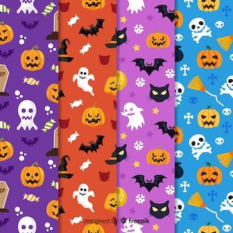 Verschiedene designe der flachen halloween-mustersammlung