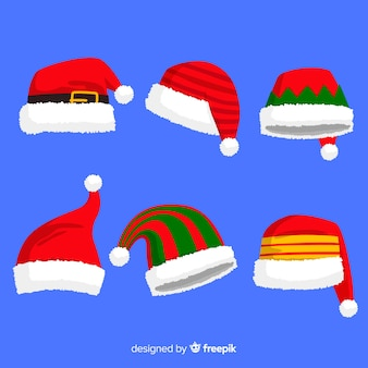 Verschiedene designs für die hutkollektion von santa