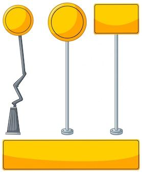 Verschiedene designs von gelben zeichen