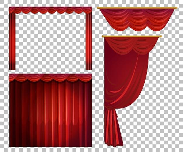 Verschiedene designs von roten vorhängen isoliert