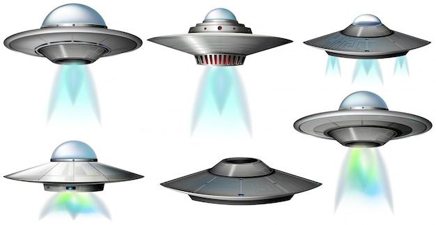 Verschiedene designs von ufo fliegen
