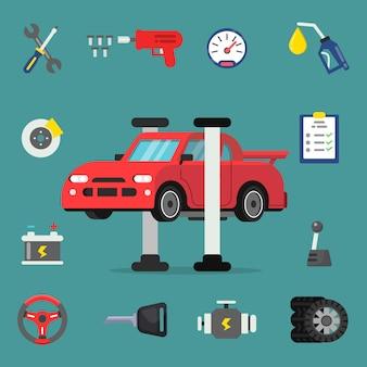 Verschiedene details für autoservice-ikonensatz
