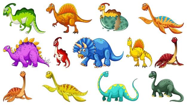 Verschiedene dinosaurier-zeichentrickfigur und fantasy-drachen isoliert