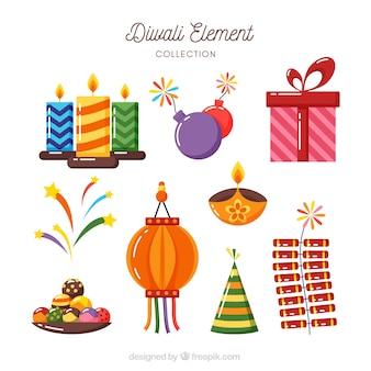 Verschiedene diwali-elemente in flachem design