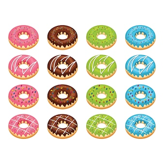 Verschiedene donut doughnut sweet snack tasty food set