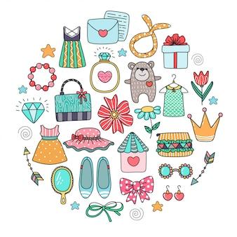 Verschiedene doodle-elemente. mädchenhafte freuden.