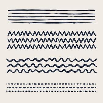 Verschiedene doodle-pinsel im vintage-stil mit grunge-textur fügen sie sie im pinselfeld als kunst- oder musterpinsel hinzu