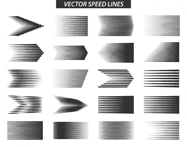 Verschiedene einfache geschwindigkeitslinien-bewegungseffekte