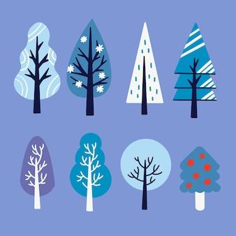 Verschiedene einzigartige art der bäume asset illustration