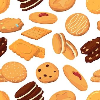 Verschiedene eisabbildungen. vektor nahtlose muster schokoladen- und waffeleiscrememusterhintergrund