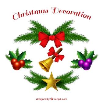 Verschiedene elegante weihnachtsschmuck