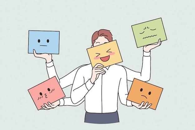 Verschiedene emotionen und emoji-konzept