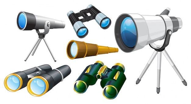 Verschiedene entwürfe der teleskope illustration